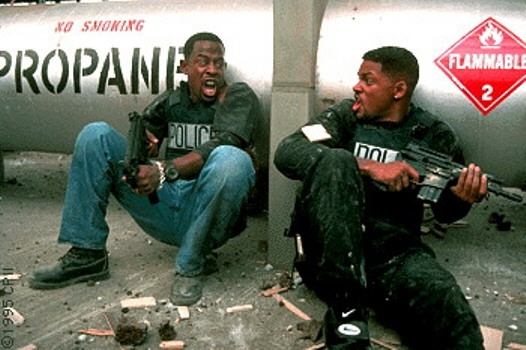 Will Smith and Martin Lawrence at the gun fight with the bad guys